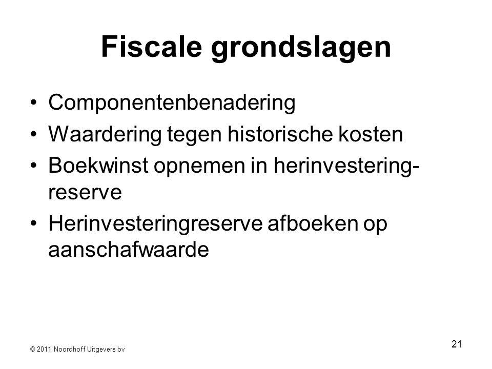 © 2011 Noordhoff Uitgevers bv 21 Fiscale grondslagen •Componentenbenadering •Waardering tegen historische kosten •Boekwinst opnemen in herinvestering-