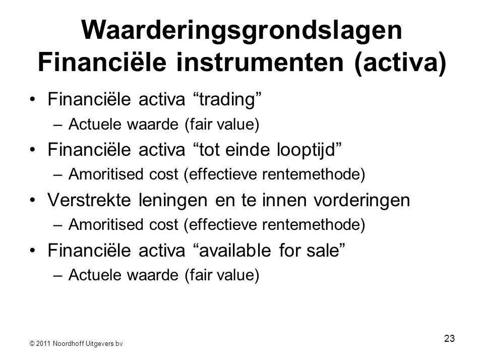 """© 2011 Noordhoff Uitgevers bv 23 Waarderingsgrondslagen Financiële instrumenten (activa) •Financiële activa """"trading"""" –Actuele waarde (fair value) •Fi"""