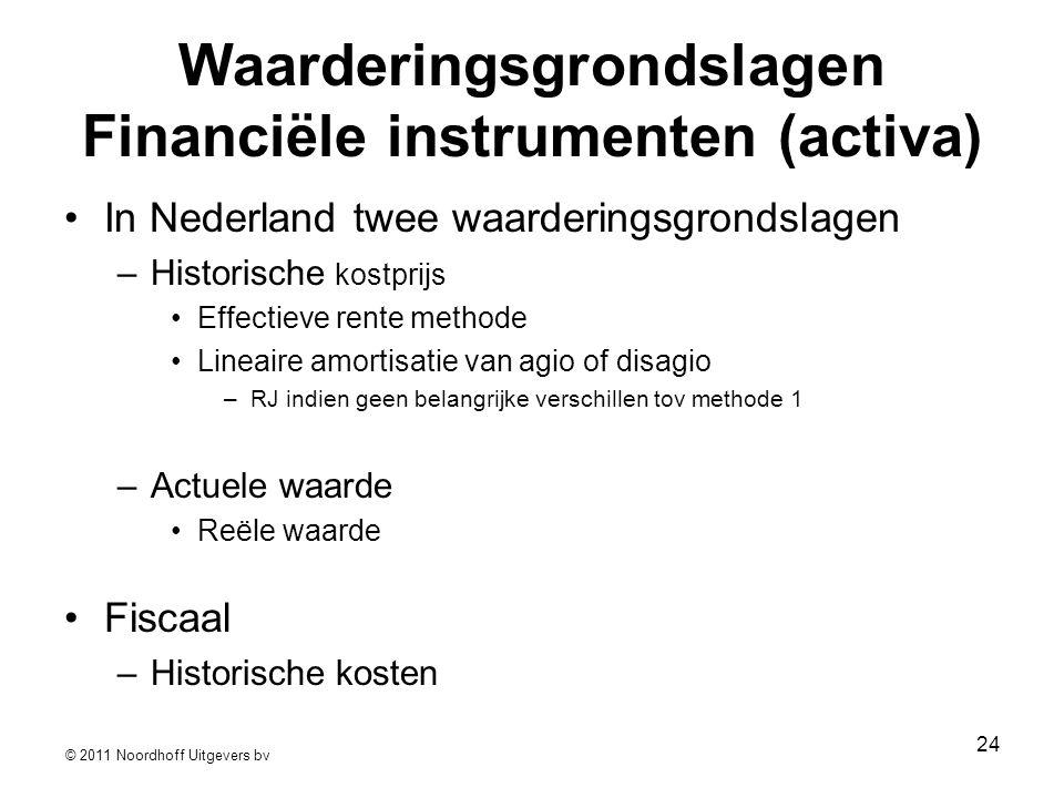 © 2011 Noordhoff Uitgevers bv 24 Waarderingsgrondslagen Financiële instrumenten (activa) •In Nederland twee waarderingsgrondslagen –Historische kostpr