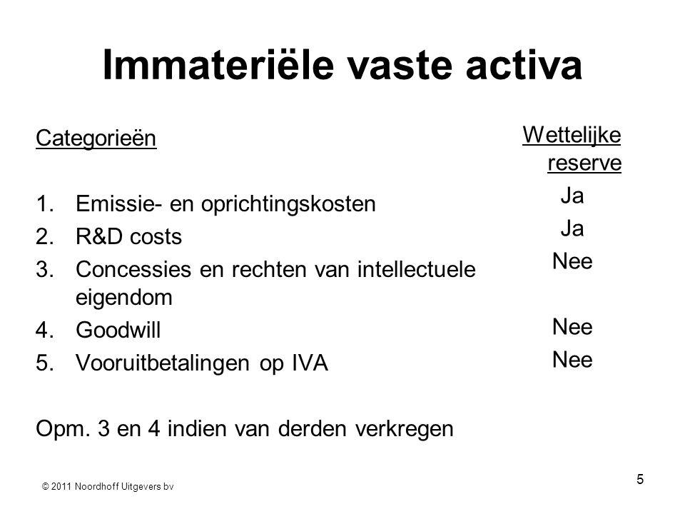 © 2011 Noordhoff Uitgevers bv 5 Immateriële vaste activa Categorieën 1.Emissie- en oprichtingskosten 2.R&D costs 3.Concessies en rechten van intellectuele eigendom 4.Goodwill 5.Vooruitbetalingen op IVA Opm.