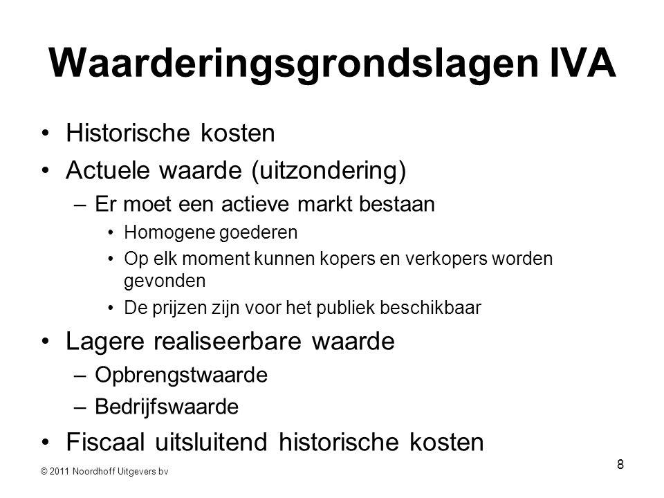 © 2011 Noordhoff Uitgevers bv 8 Waarderingsgrondslagen IVA •Historische kosten •Actuele waarde (uitzondering) –Er moet een actieve markt bestaan •Homo