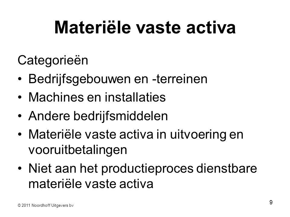 © 2011 Noordhoff Uitgevers bv 9 Materiële vaste activa Categorieën •Bedrijfsgebouwen en -terreinen •Machines en installaties •Andere bedrijfsmiddelen
