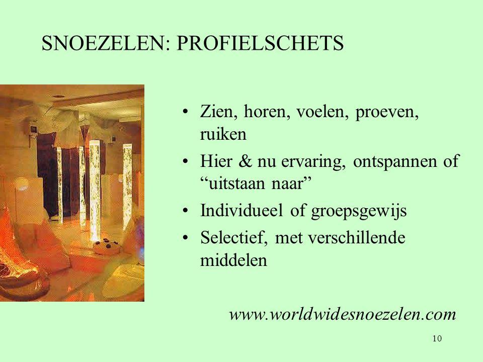 10 SNOEZELEN: PROFIELSCHETS •Zien, horen, voelen, proeven, ruiken •Hier & nu ervaring, ontspannen of uitstaan naar •Individueel of groepsgewijs •Selectief, met verschillende middelen www.worldwidesnoezelen.com