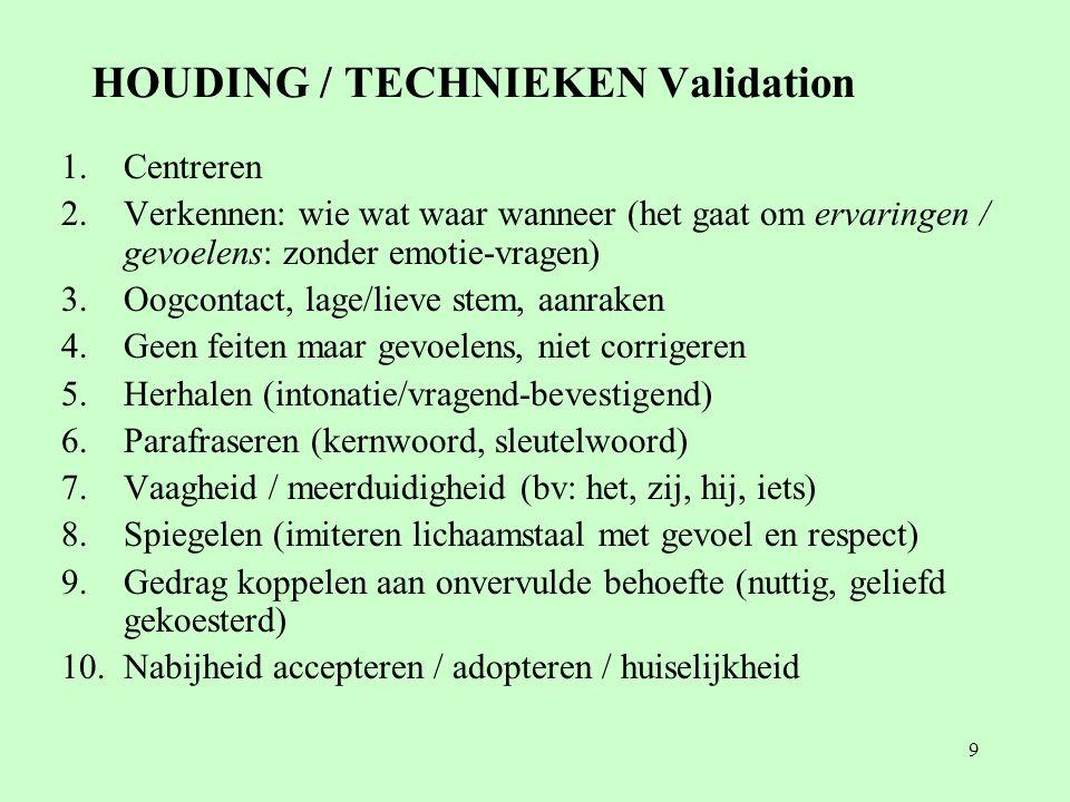 9 HOUDING / TECHNIEKEN Validation 1.Centreren 2.Verkennen: wie wat waar wanneer (het gaat om ervaringen / gevoelens: zonder emotie-vragen) 3.Oogcontact, lage/lieve stem, aanraken 4.Geen feiten maar gevoelens, niet corrigeren 5.Herhalen (intonatie/vragend-bevestigend) 6.Parafraseren (kernwoord, sleutelwoord) 7.Vaagheid / meerduidigheid (bv: het, zij, hij, iets) 8.Spiegelen (imiteren lichaamstaal met gevoel en respect) 9.Gedrag koppelen aan onvervulde behoefte (nuttig, geliefd gekoesterd) 10.Nabijheid accepteren / adopteren / huiselijkheid