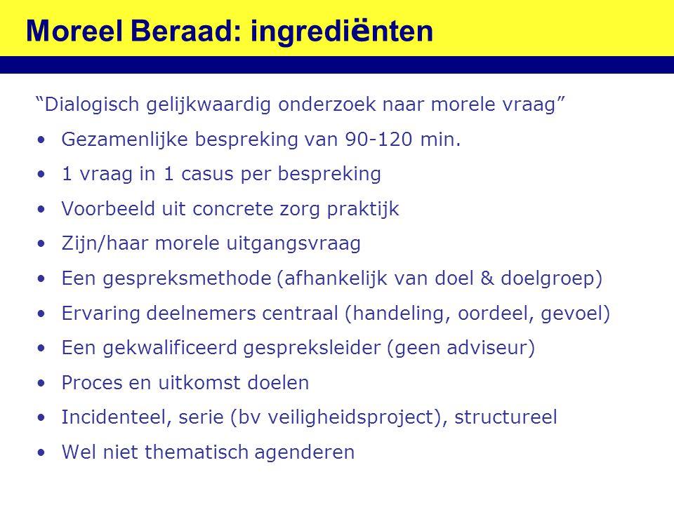 """Moreel Beraad: ingredi ë nten """"Dialogisch gelijkwaardig onderzoek naar morele vraag"""" •Gezamenlijke bespreking van 90-120 min. •1 vraag in 1 casus per"""