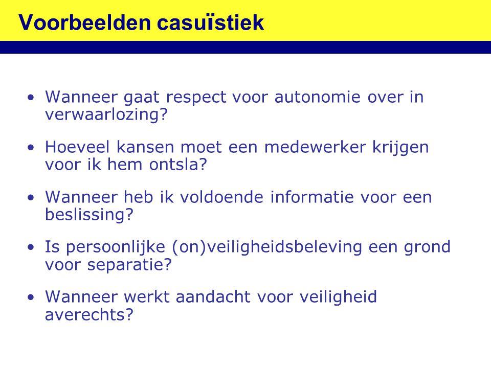 Voorbeelden casu ï stiek •Wanneer gaat respect voor autonomie over in verwaarlozing? •Hoeveel kansen moet een medewerker krijgen voor ik hem ontsla? •
