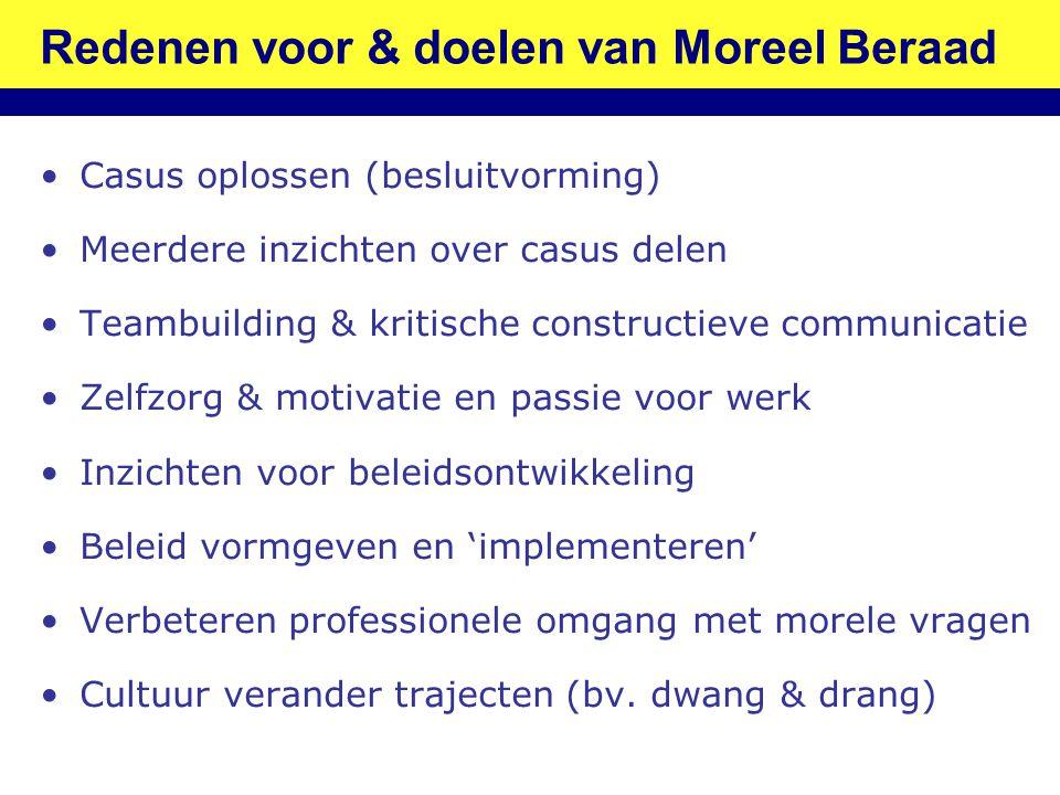 Redenen voor & doelen van Moreel Beraad •Casus oplossen (besluitvorming) •Meerdere inzichten over casus delen •Teambuilding & kritische constructieve