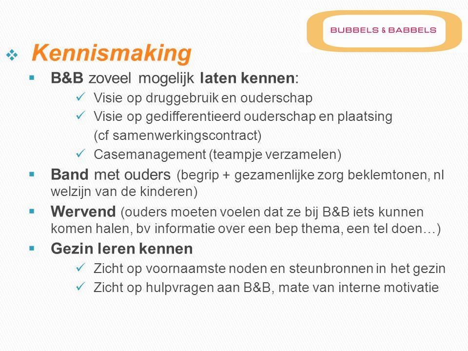  Kennismaking  B&B zoveel mogelijk laten kennen:  Visie op druggebruik en ouderschap  Visie op gedifferentieerd ouderschap en plaatsing (cf samenw
