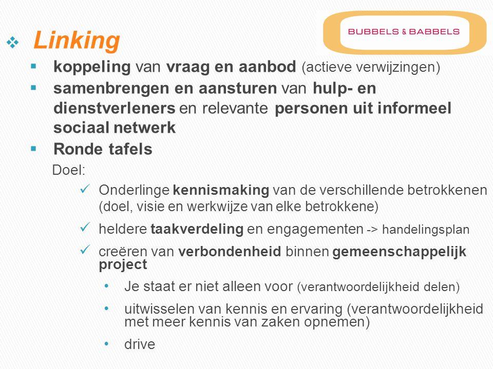  Linking  koppeling van vraag en aanbod (actieve verwijzingen)  samenbrengen en aansturen van hulp- en dienstverleners en relevante personen uit in