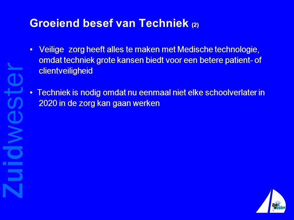 Zuidwester Groeiend besef van Techniek (2) • Veilige zorg heeft alles te maken met Medische technologie, omdat techniek grote kansen biedt voor een be