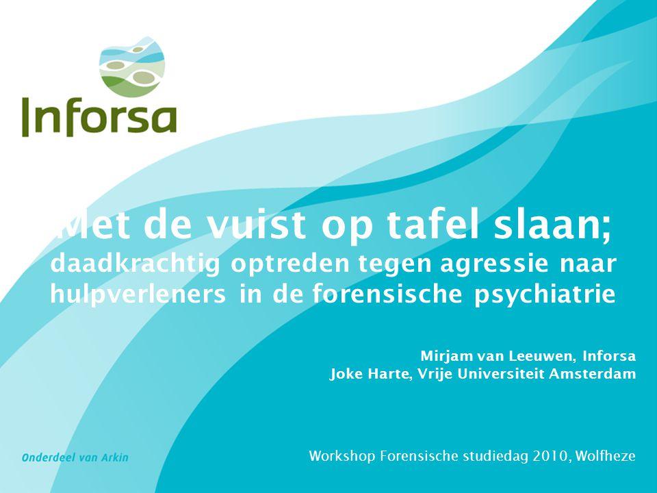Met de vuist op tafel slaan; daadkrachtig optreden tegen agressie naar hulpverleners in de forensische psychiatrie Mirjam van Leeuwen, Inforsa Joke Ha