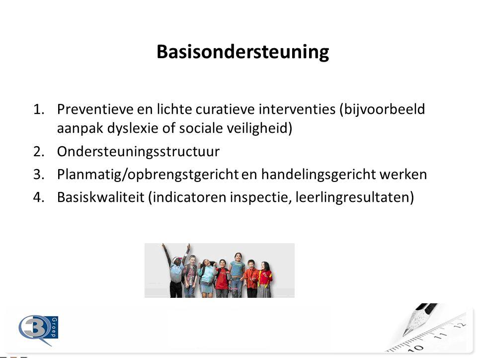 Basisondersteuning 1.Preventieve en lichte curatieve interventies (bijvoorbeeld aanpak dyslexie of sociale veiligheid) 2.Ondersteuningsstructuur 3.Planmatig/opbrengstgericht en handelingsgericht werken 4.Basiskwaliteit (indicatoren inspectie, leerlingresultaten)