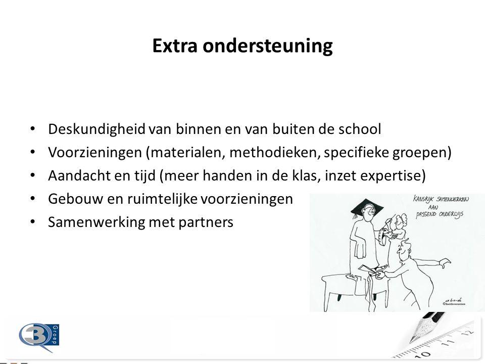 Extra ondersteuning • Deskundigheid van binnen en van buiten de school • Voorzieningen (materialen, methodieken, specifieke groepen) • Aandacht en tij