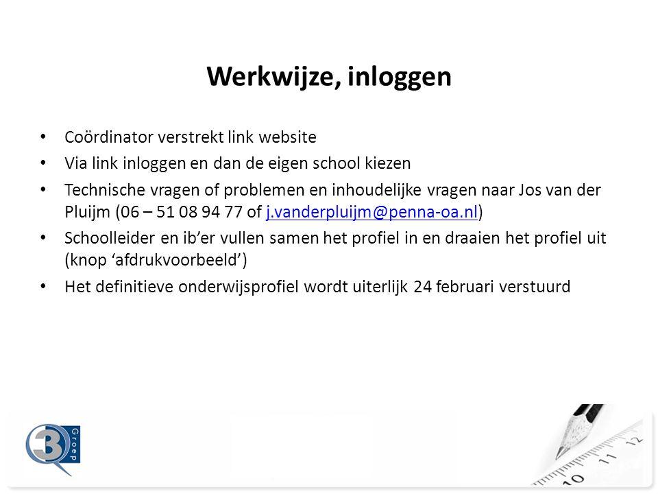 Werkwijze, inloggen • Coördinator verstrekt link website • Via link inloggen en dan de eigen school kiezen • Technische vragen of problemen en inhoudelijke vragen naar Jos van der Pluijm (06 – 51 08 94 77 of j.vanderpluijm@penna-oa.nl)j.vanderpluijm@penna-oa.nl • Schoolleider en ib'er vullen samen het profiel in en draaien het profiel uit (knop 'afdrukvoorbeeld') • Het definitieve onderwijsprofiel wordt uiterlijk 24 februari verstuurd
