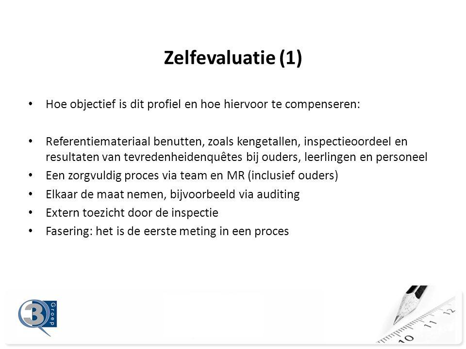 Zelfevaluatie (1) • Hoe objectief is dit profiel en hoe hiervoor te compenseren: • Referentiemateriaal benutten, zoals kengetallen, inspectieoordeel en resultaten van tevredenheidenquêtes bij ouders, leerlingen en personeel • Een zorgvuldig proces via team en MR (inclusief ouders) • Elkaar de maat nemen, bijvoorbeeld via auditing • Extern toezicht door de inspectie • Fasering: het is de eerste meting in een proces
