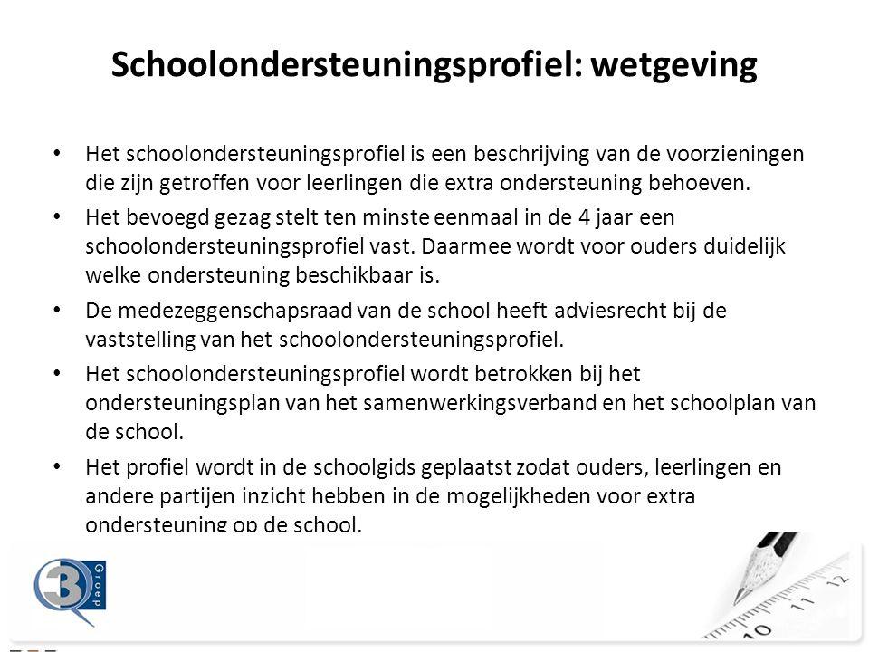 • Het schoolondersteuningsprofiel is een beschrijving van de voorzieningen die zijn getroffen voor leerlingen die extra ondersteuning behoeven.