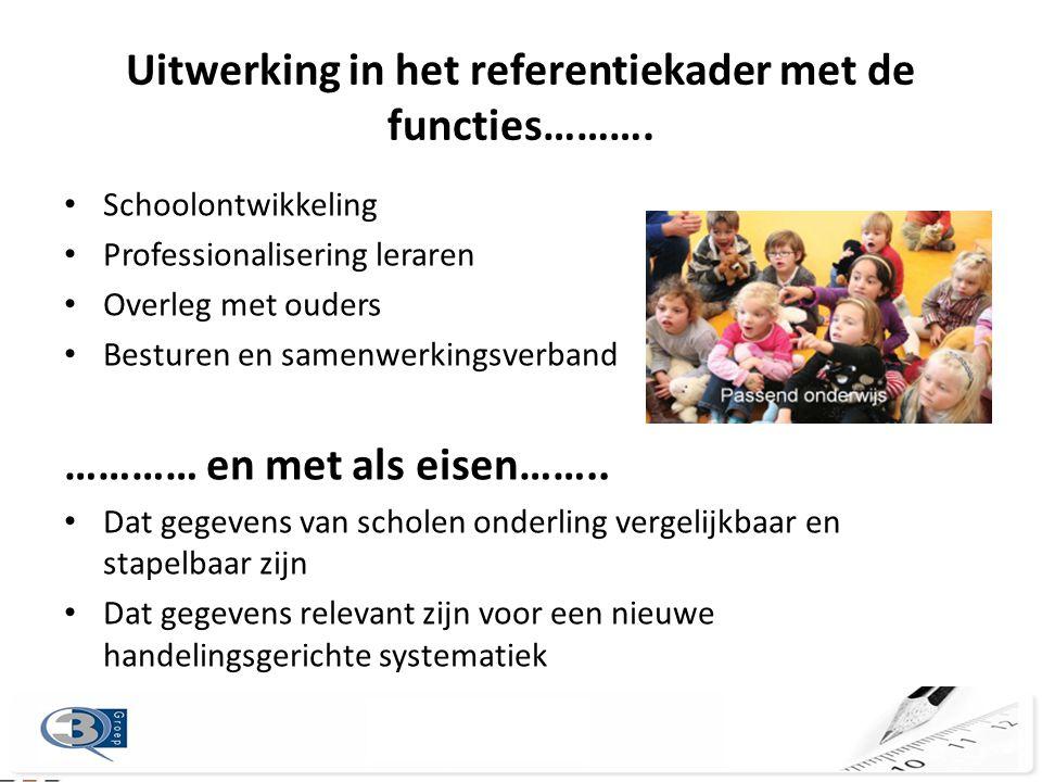 Uitwerking in het referentiekader met de functies………. • Schoolontwikkeling • Professionalisering leraren • Overleg met ouders • Besturen en samenwerki