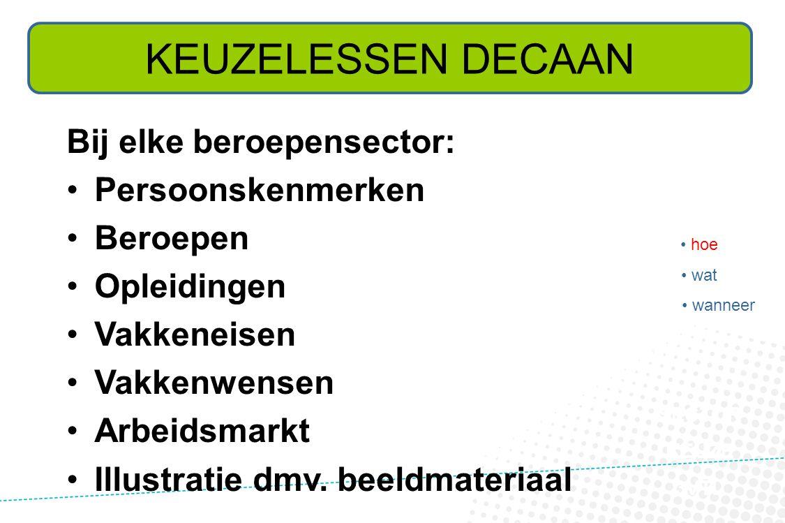 Bij elke beroepensector: •Persoonskenmerken •Beroepen •Opleidingen •Vakkeneisen •Vakkenwensen •Arbeidsmarkt •Illustratie dmv.