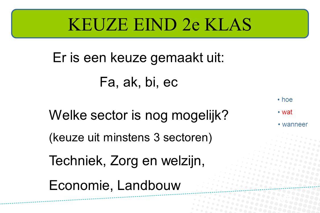 KEUZE EIND 2e KLAS SECTOR KEUZE 3VTL Er is een keuze gemaakt uit: Fa, ak, bi, ec Welke sector is nog mogelijk? (keuze uit minstens 3 sectoren) Technie