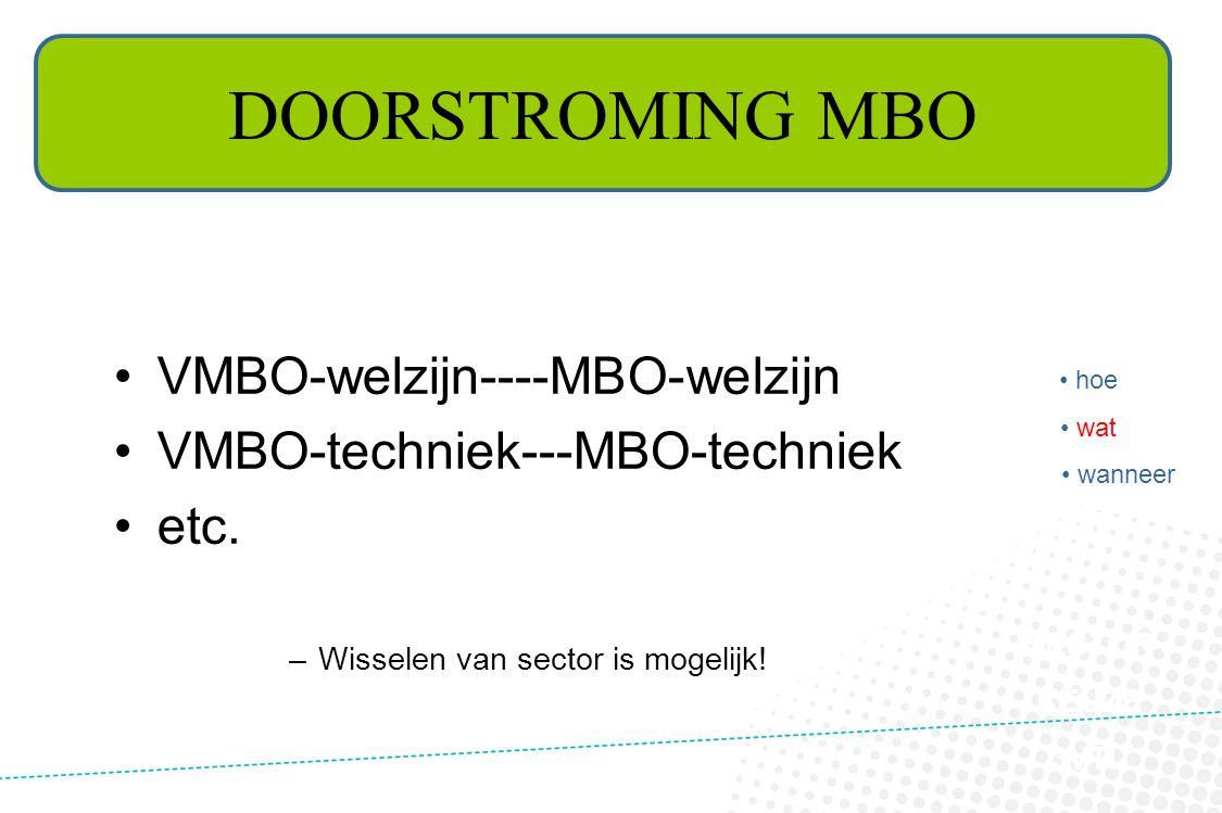 SECTOR KEUZE 3VTL DOORSTROMING MBO •VMBO-welzijn----MBO-welzijn •VMBO-techniek---MBO-techniek •etc. –Wisselen van sector is mogelijk! • hoe • wat • wa