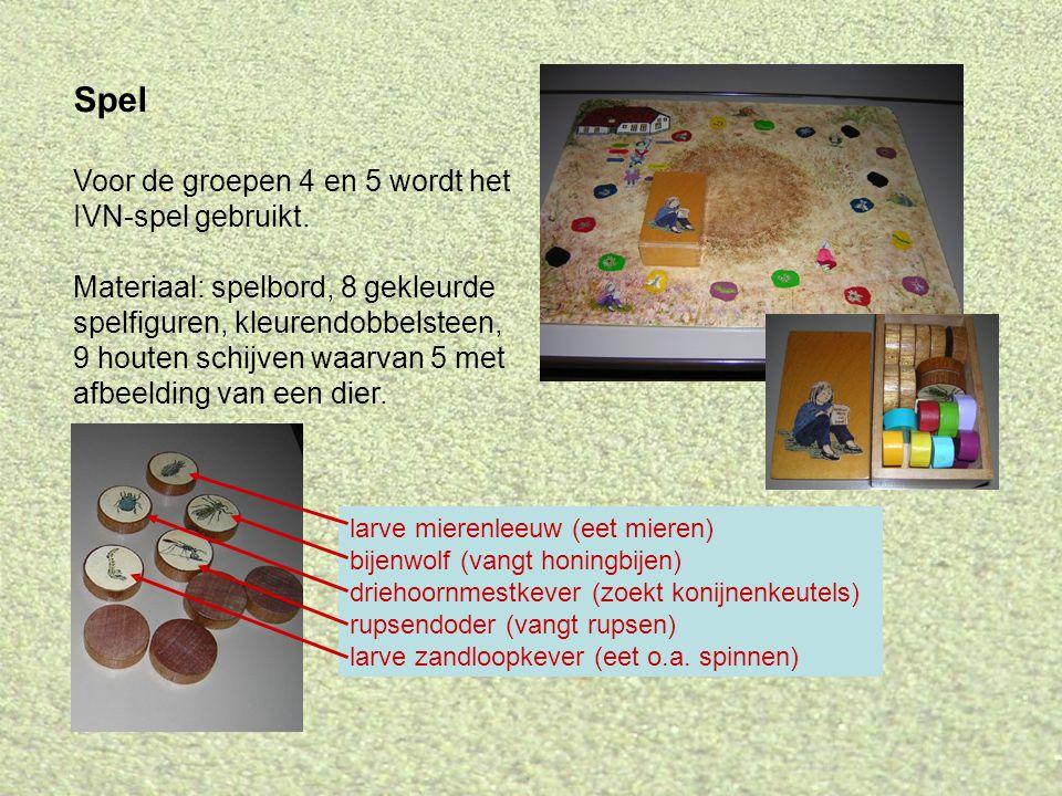 Spel Voor de groepen 4 en 5 wordt het IVN-spel gebruikt. Materiaal: spelbord, 8 gekleurde spelfiguren, kleurendobbelsteen, 9 houten schijven waarvan 5