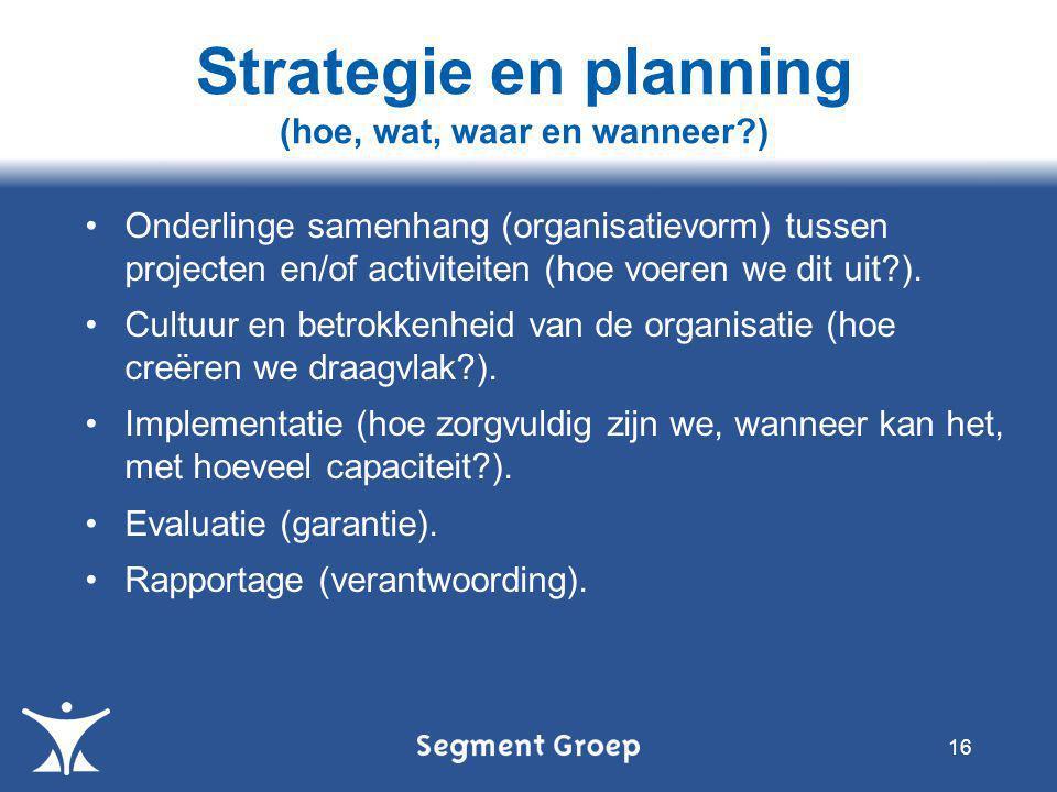 •Onderlinge samenhang (organisatievorm) tussen projecten en/of activiteiten (hoe voeren we dit uit?).