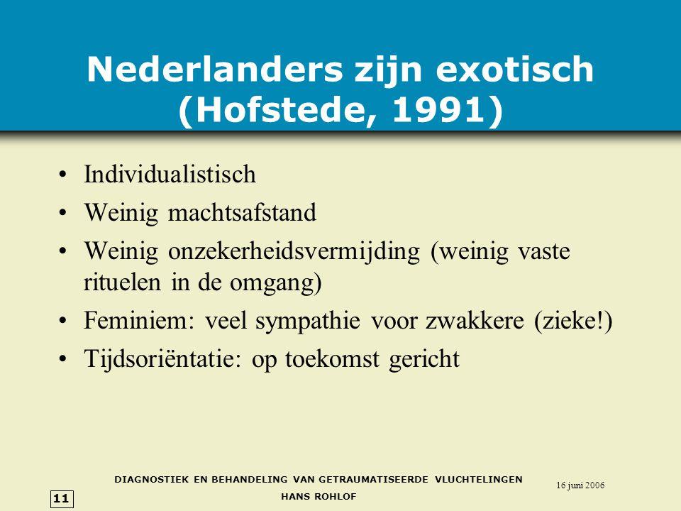 DIAGNOSTIEK EN BEHANDELING VAN GETRAUMATISEERDE VLUCHTELINGEN HANS ROHLOF 16 juni 2006 11 Nederlanders zijn exotisch (Hofstede, 1991) •Individualistisch •Weinig machtsafstand •Weinig onzekerheidsvermijding (weinig vaste rituelen in de omgang) •Feminiem: veel sympathie voor zwakkere (zieke!) •Tijdsoriëntatie: op toekomst gericht