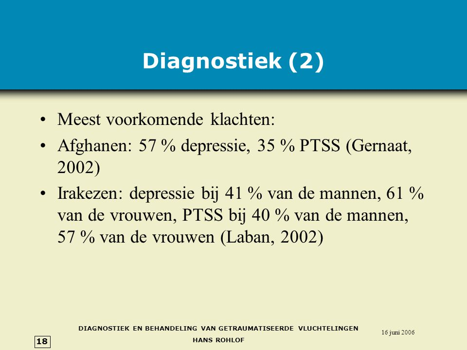 DIAGNOSTIEK EN BEHANDELING VAN GETRAUMATISEERDE VLUCHTELINGEN HANS ROHLOF 16 juni 2006 18 Diagnostiek (2) •Meest voorkomende klachten: •Afghanen: 57 % depressie, 35 % PTSS (Gernaat, 2002) •Irakezen: depressie bij 41 % van de mannen, 61 % van de vrouwen, PTSS bij 40 % van de mannen, 57 % van de vrouwen (Laban, 2002)