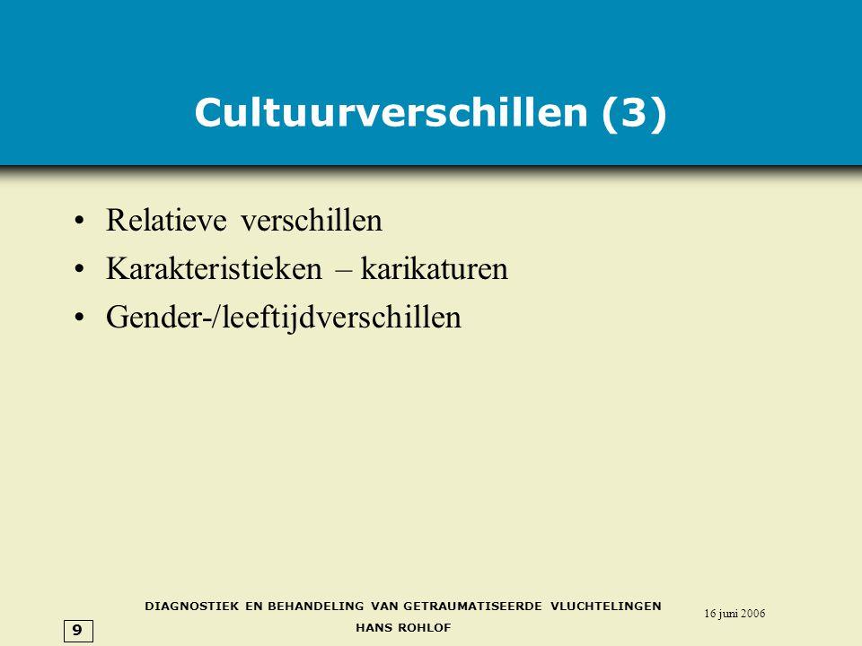 DIAGNOSTIEK EN BEHANDELING VAN GETRAUMATISEERDE VLUCHTELINGEN HANS ROHLOF 16 juni 2006 9 Cultuurverschillen (3) •Relatieve verschillen •Karakteristieken – karikaturen •Gender-/leeftijdverschillen
