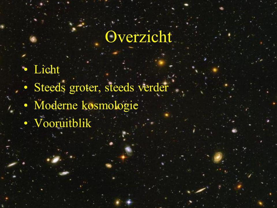 Overzicht •Licht •Steeds groter, steeds verder •Moderne kosmologie •Vooruitblik