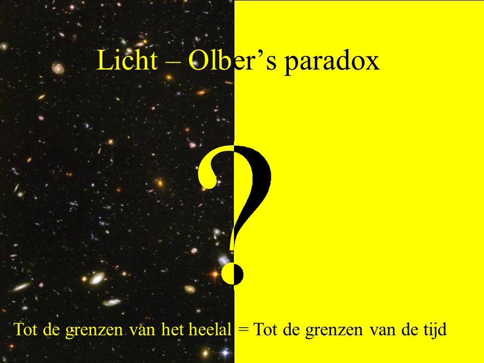 Licht – Olber's paradox Tot de grenzen van het heelal = Tot de grenzen van de tijd