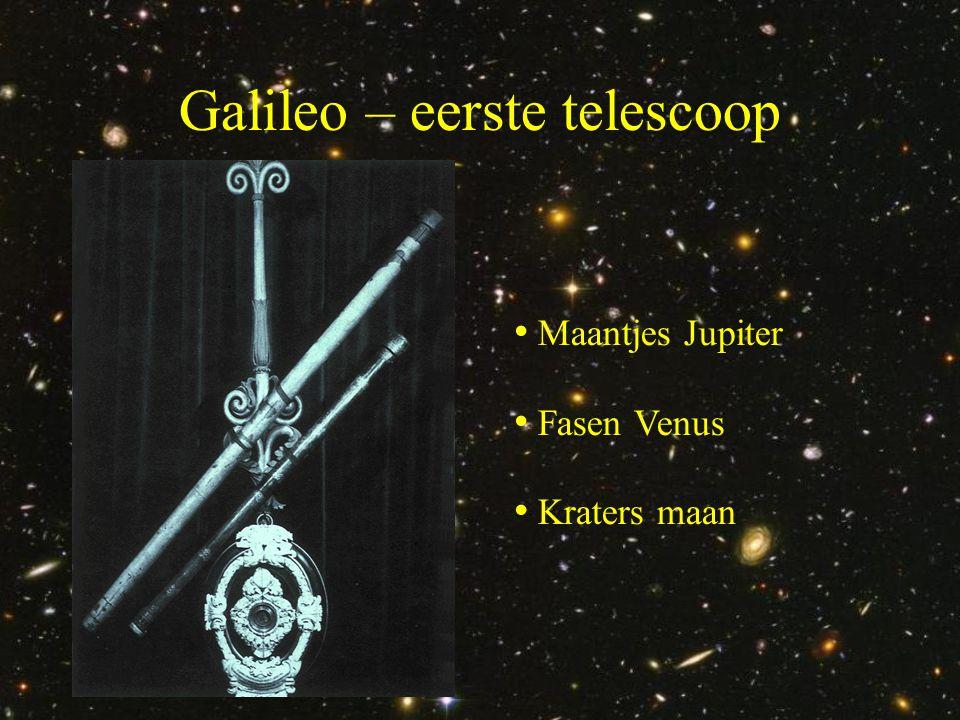 Galileo – eerste telescoop • Maantjes Jupiter • Fasen Venus • Kraters maan