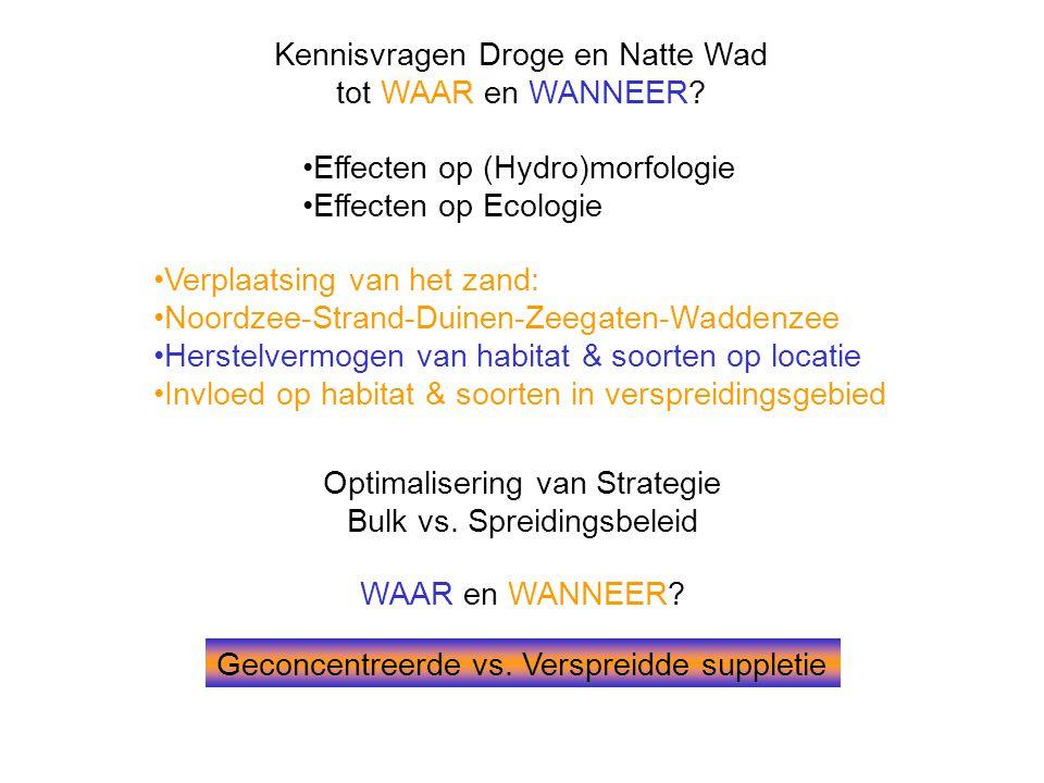 Kennisvragen Droge en Natte Wad tot WAAR en WANNEER? •Effecten op (Hydro)morfologie •Effecten op Ecologie Optimalisering van Strategie Bulk vs. Spreid