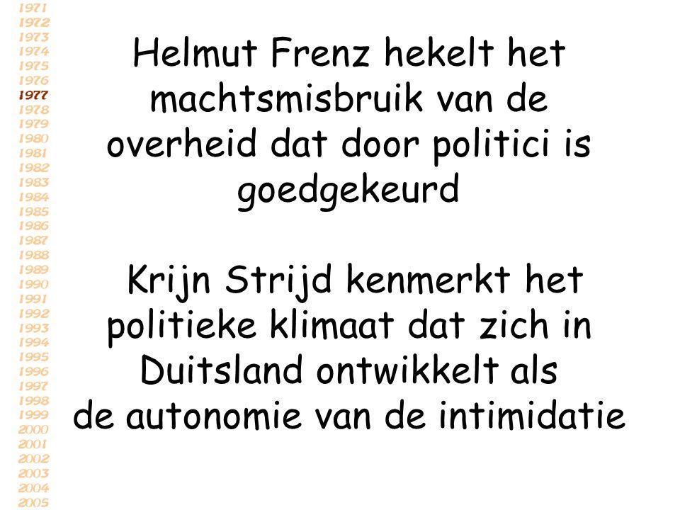 Helmut Frenz hekelt het machtsmisbruik van de overheid dat door politici is goedgekeurd Krijn Strijd kenmerkt het politieke klimaat dat zich in Duitsl