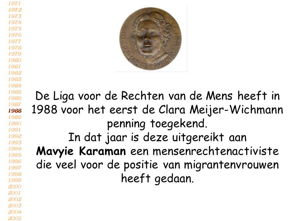 De Liga voor de Rechten van de Mens heeft in 1988 voor het eerst de Clara Meijer-Wichmann penning toegekend. In dat jaar is deze uitgereikt aan Mavyie
