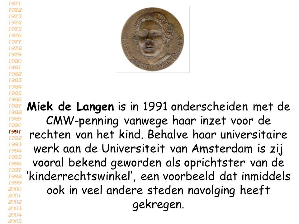 Miek de Langen is in 1991 onderscheiden met de CMW-penning vanwege haar inzet voor de rechten van het kind. Behalve haar universitaire werk aan de Uni