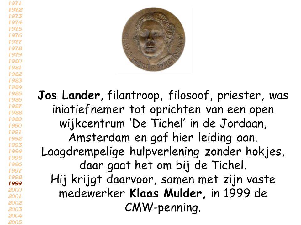 Jos Lander, filantroop, filosoof, priester, was iniatiefnemer tot oprichten van een open wijkcentrum 'De Tichel' in de Jordaan, Amsterdam en gaf hier