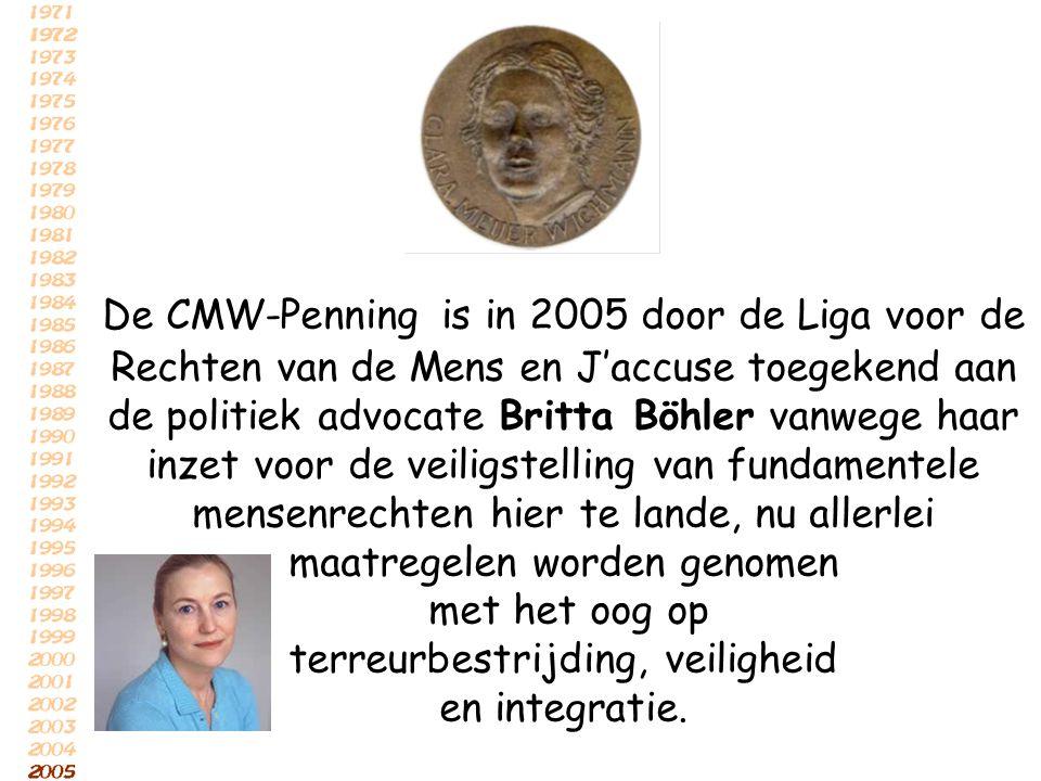 De CMW-Penning is in 2005 door de Liga voor de Rechten van de Mens en J'accuse toegekend aan de politiek advocate Britta Böhler vanwege haar inzet voo