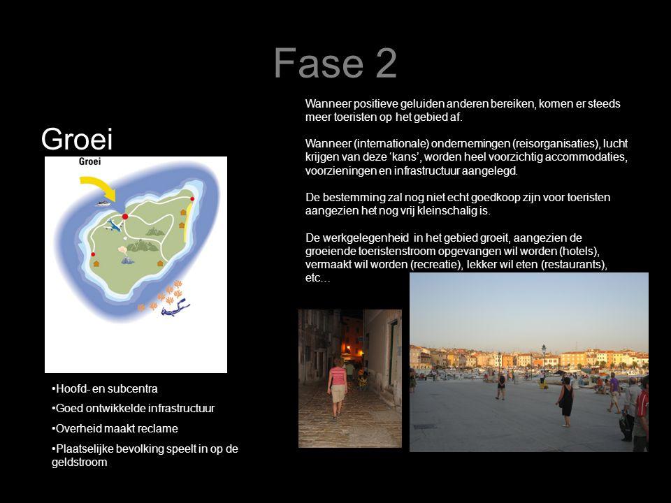 Fase 2 Groei Wanneer positieve geluiden anderen bereiken, komen er steeds meer toeristen op het gebied af. Wanneer (internationale) ondernemingen (rei