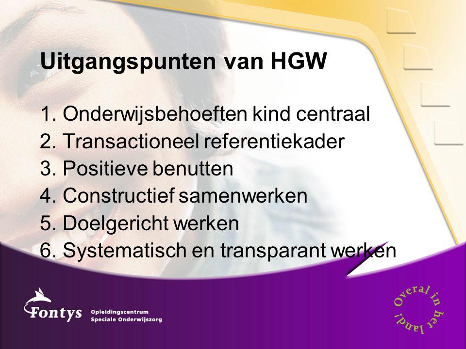 Uitgangspunten van HGW 1. Onderwijsbehoeften kind centraal 2. Transactioneel referentiekader 3. Positieve benutten 4. Constructief samenwerken 5. Doel