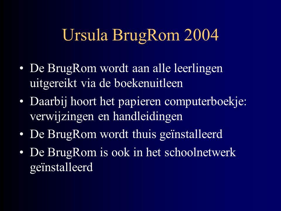 Ursula BrugRom 2004 •De BrugRom wordt aan alle leerlingen uitgereikt via de boekenuitleen •Daarbij hoort het papieren computerboekje: verwijzingen en