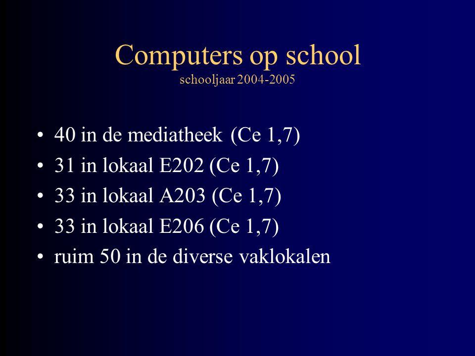 Computers op school schooljaar 2004-2005 •40 in de mediatheek (Ce 1,7) •31 in lokaal E202 (Ce 1,7) •33 in lokaal A203 (Ce 1,7) •33 in lokaal E206 (Ce