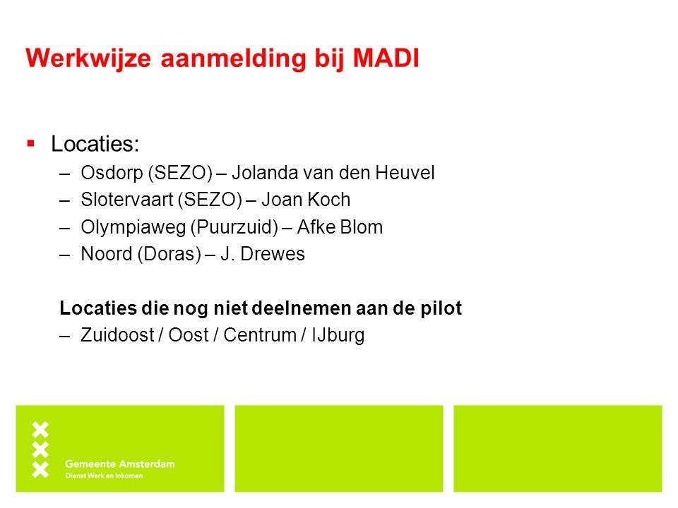 Werkwijze aanmelding bij MADI  Locaties: –Osdorp (SEZO) – Jolanda van den Heuvel –Slotervaart (SEZO) – Joan Koch –Olympiaweg (Puurzuid) – Afke Blom –