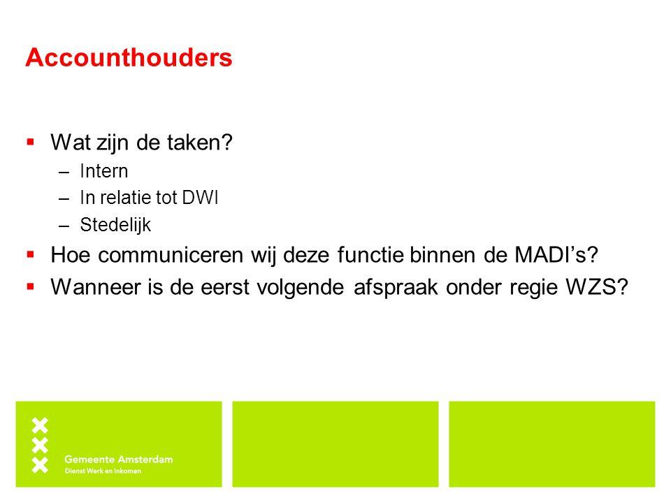 Accounthouders  Wat zijn de taken? –Intern –In relatie tot DWI –Stedelijk  Hoe communiceren wij deze functie binnen de MADI's?  Wanneer is de eerst