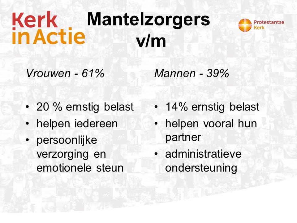 Vrijwilligerswerk vs mantelzorg Vrijwilligerswerk •Georganiseerd •Bewuste keuze •Tijdsinvestering begrensd •Aard v.h.