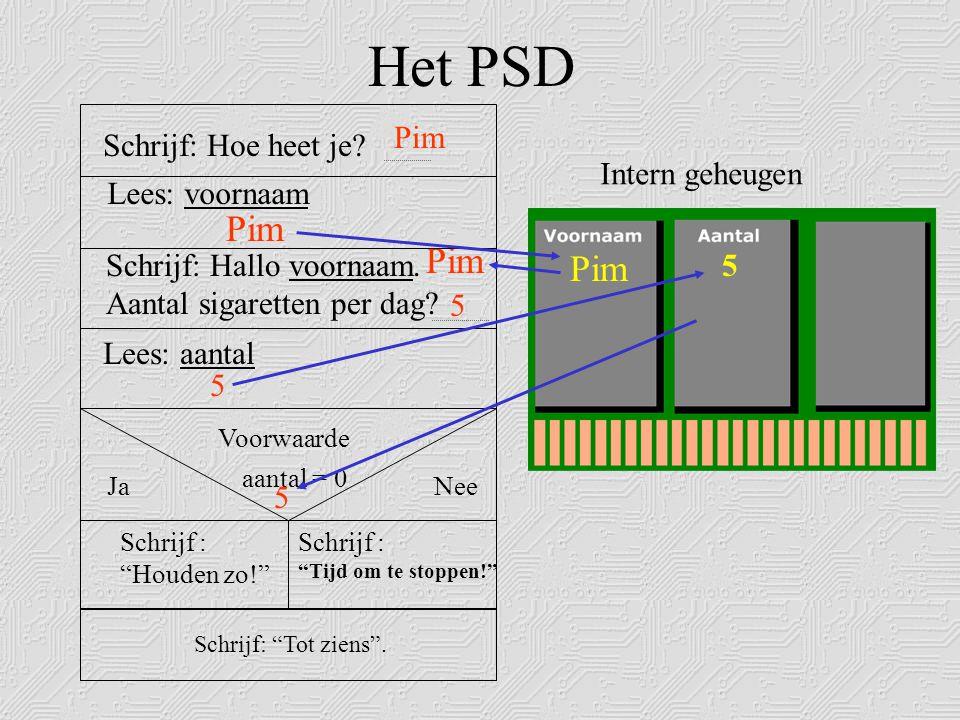 Het PSD Voorwaarde NeeJa Schrijf: Hoe heet je.Pim Lees: voornaam Schrijf: Hallo voornaam.