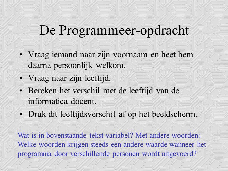 De Programmeer-opdracht •Vraag iemand naar zijn voornaam en heet hem daarna persoonlijk welkom.