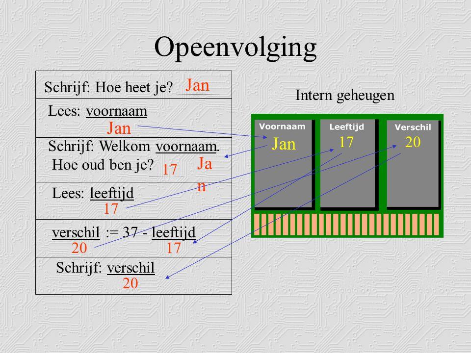 Programma in Pascal Program countdown; {Laat een programma de getallen 10 tot en met 0 op het beeldscherm afdrukken.} Variabelen declareren Programma-naam + omschrijving naamtype Var getal: Integer; Begin getal := 10; while getal >= 0 do begin writeln(getal); getal := getal-1; end; writeln('We have a liftoff…'); readln; End.