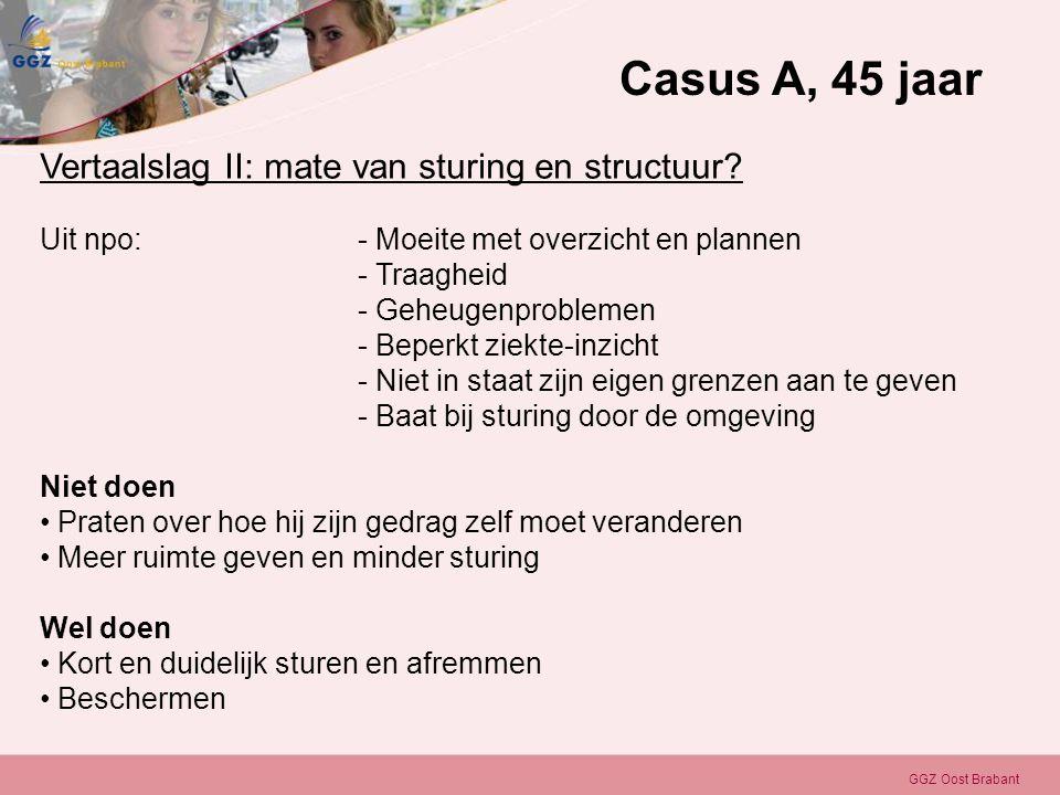 GGZ Oost Brabant Vertaalslag II: mate van sturing en structuur? Uit npo: - Moeite met overzicht en plannen - Traagheid - Geheugenproblemen - Beperkt z