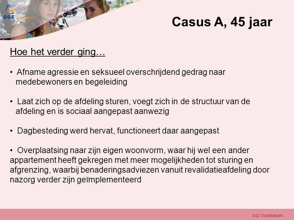 GGZ Oost Brabant Hoe het verder ging… • Afname agressie en seksueel overschrijdend gedrag naar medebewoners en begeleiding • Laat zich op de afdeling